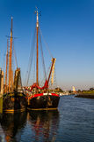 Old sailing freightships. Historical sailing freightships in the harbor of Zierikzee, south holland Royalty Free Stock Photo