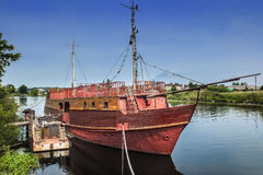 Old sailing frigate. Royalty Free Stock Photo