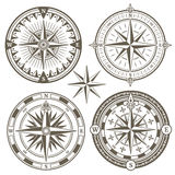 Old sailing marine navigation compass, wind rose vector icons Stock Photo