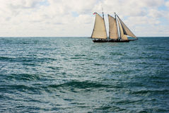 Old Sailing Ship. A large old sail boat on a nice day off of San Diego California United States of America royalty free stock photography