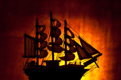 Old sailing ship. Silhouette of an old sailing ship Royalty Free Stock Image