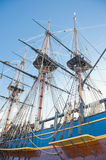 Old sailing ship. Masts,sails and rigging of an old sailing ship stock photos