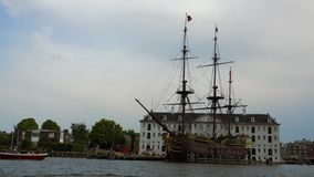 Old sailing ship in Amsterdam at maritime museum amsterdam City of Amsterdam stock video