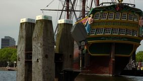 Old sailing ship in Amsterdam at maritime museum amsterdam City of Amsterdam stock footage
