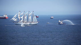 Old Sailing Ship. Old Chilean national training ship `Esmeralda`, arriving at Valparaiso, Chile stock video