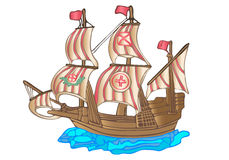 Old sailing ship. Flat design. Old big sailing boat vector stock illustration