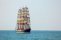 Old sailing ship in full sail. Beautiful old sailing ship in full sail stock images
