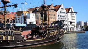 Old sailing ship in Gdansk - Poland stock footage