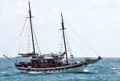 Old sailing ship in heavy seas Stock Photos