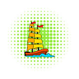 Old sailing ship icon, comics style Stock Image