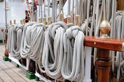 Old sailing ship masts Stock Photo