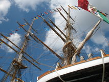 Old sailing ship. Masts, sails and rigging of an old sailing ship Stock Photo