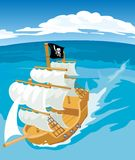 Old sailing ship with pirate flag. Vector flat illustration Stock Photography