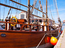 Old sailing ship in port. Old sailing ship in the port of Wismar Stock Photos