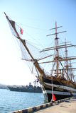 Old sailing ship in the port Stock Photo