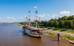 Old sailing ship on river Volhov in summer day Stock Photography