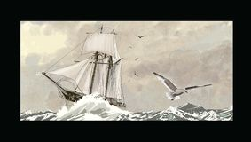 Old sailing ship on a rough sea vector illustration