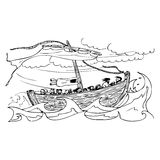 Old sailing ship on the sea in the storm. Illustration of an old sailing ship on the sea in the storm vector illustration