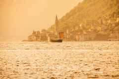 Old sailing ship in sunset light Royalty Free Stock Image