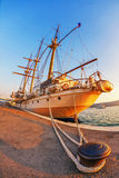 Old sailing ship in sunset light Royalty Free Stock Photos