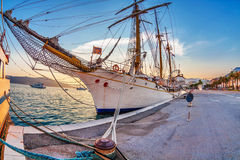 Old sailing ship in sunset light Stock Photo