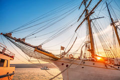 Old sailing ship in sunset light Stock Image