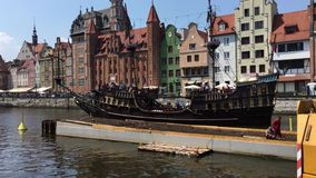 Old sailing ship in Gdansk - Poland. Old sailing ship with tourists on the river Motlawa in Gdansk - Poland stock footage