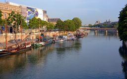 Old Sailing Ships, Boats & Barges on The Seine River, Paris Fran Royalty Free Stock Photography