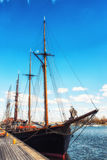 The old sailing ships in dock, Helsinki, Finland Royalty Free Stock Photos