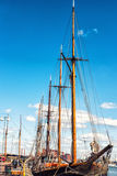 The old sailing ships in dock, Helsinki, Finland Stock Photos