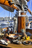 Old sailing ships docked in the old port of Marseille Stock Photo