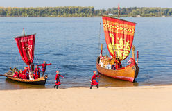 Old sailing ships floating on the river Volga on sunny day in Sa Royalty Free Stock Images