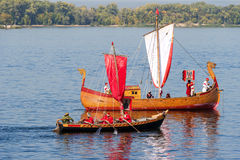 Old sailing ships floating on the river Volga on sunny day in Sa Stock Image