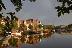 Lübeck, the old-timer harbour with sailing ships Royalty Free Stock Photos