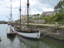 Old sailing ships in port Stock Images