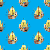 Old sailing ships seamless pattern Royalty Free Stock Photography