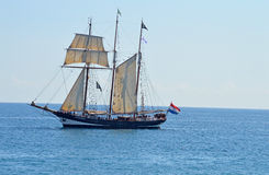An Old Sailing Vessel - Square Rigged Boat Or Ship Stock Image