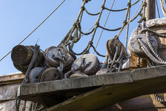 Old sailing wooden blocks and rigging Royalty Free Stock Image