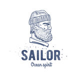 Old sailor logo or label. Seaman with a beard. Hand drawn illustration. Hipster logotype. Profile view. Vintage design. Royalty Free Stock Photography