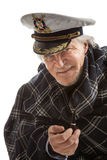 Old sailor man in  hat  with pipe Royalty Free Stock Photos