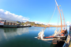 Old sailor mirroring in Kabelvoag in Lofoten Stock Images