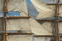 Old Sails. Sails of an old ships on their mast royalty free stock photo