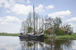 Old sailship in Reitdiep Royalty Free Stock Images
