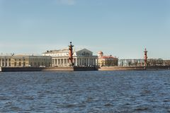 Old Saint Petersburg Stock Exchange and Rostral Columns. The Old Saint Petersburg Stock Exchange and Rostral Columns, located in Saint Petersburg in the Russian Stock Images