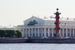 The Old Saint Petersburg Stock Exchange and Rostral Columns, Russia royalty free stock photos