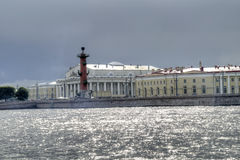 Old Saint Petersburg Stock Exchange and Rostral Columns Stock Photo