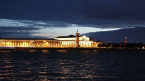 Old Saint Petersburg Stock Exchange and Rostral Columns. White night in summer stock footage