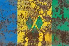 Old Saint Vincent and the Grenadines grunge background flag.  Royalty Free Stock Photography