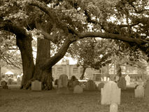 Old Salem Cemetery, in Sepia monocolor Royalty Free Stock Photo
