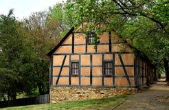Old Salem, NC:  Fachwerk Moravian Houses on Main Street Stock Photo